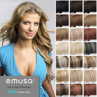 Brazilian Hair Natural Color Straight Emosa Brand Luxury Clip in Hair Extensions 100% Real Human Hair Brazilian Queen Hair Products with Clips in - 20 Colors Optional
