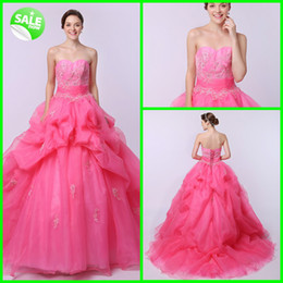 Wholesale 2014 Younthful Stylish Exquisite Delicated Sweetheart Applique Beads Ruffle Organza Sweep Train Quinceanera Dresses