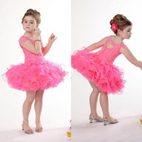 Wholesale Sweet Kids Party Organza Short Sleeve Infant Flower Girls Beaded Mini Cupcake Baby Hot Pink Glitz Girls Pageant Dresses UM168