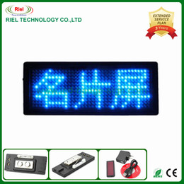 Wholesale Scrolling LED Magnet Name Badge USB display boards Nightclub rechargeable Blue color Taking on upper clothes and T shirts