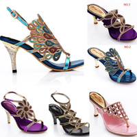 Wholesale new styles female sandals summer genuine leather peacock sandals blue rhinestone sandals women s high heeled shoes women sandals