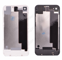 Wholesale 100pcs Black white Glass battery housing door back cover With Flash Diffuser for iphone S repalcement parts free by DHL EMS