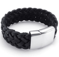 Wholesale The new European and American fashion street snap star titanium steel side buckle leather braided bracelet Men and women style bracelet