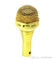 Wholesale New Mini Microphone Speaker USB Rechargeable Speaker Iphone Mobile Phone MP3 Computer Gold K0227J