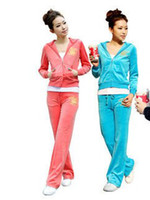 Women velour tracksuit - Sexy set women s suits long sleeve velour tracksuit hoodie pants hoody a suit of trousers Black Pink Rose Blue Sky Blue Watermelon Red