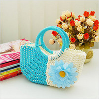 beach bag straw - Bohemia Beach Bag Straw Bag Flowers Women Handbag Colors Children Handbags Summer Kids Wallet Fashion Women Bag Blue Pink Yellow