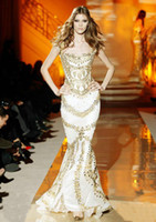 Reference Images Square Elastic Satin Hot Sale 2014 Sexy White Mermaid Formal Evening Dresses Square Tight Much Gold Crystals Zuhair Murad Prom Dress Pageant Dresses