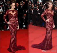 Reference Images Crew Lace 2014 New Arrive Zuhair Murad Lace Burgundy Sheath Sexy Red Carpet Celebrity Dresses Bateau Long Sleeve Evening Gowns Prom Dress PM1924