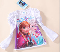 cotton tunic - frozen autumn girls clothing children long sleeve T shirt kids lovely white tops cotton tunic leisure tees
