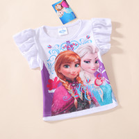 Wholesale 2014 Elsa and Anna Girls short sleeve Cotton t shirt kids cartoon summer clothing top tees Frozen t shirt
