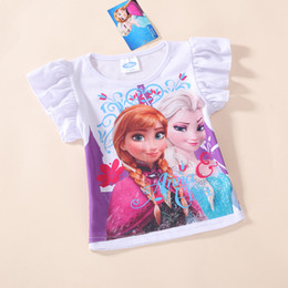 Wholesale 2014 Elsa and Anna Girls short sleeve Cotton t shirt kids cartoon summer clothing top tees t shirt
