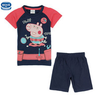 Boy Summer Short 2014 Wholesale Peppa Pig Printing Kids Summer Wear Clothes Nova Cute Baby Boy Two Pieces Set Lovely Boys Short Sleeve Top And Pants CD4652