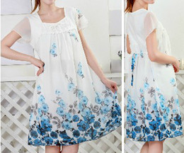 Wholesale New Women Summer Fashion Maternity Dress Pregnant Flower Printed Skirt ladies Loving Chiffon Plus size Clothes maternity clothing tops