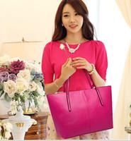 Totes Women Plain 2014 Hot women leather tote handbag fashion designer candy color shoulder bags