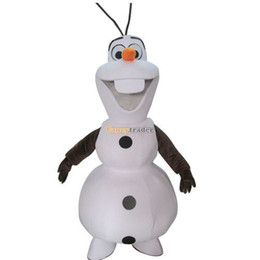 Wholesale 100 Real Pictures New Deluxe Smiling Frozen Snowman Olaf Mascot Costume with helmet and mini fan FT30687