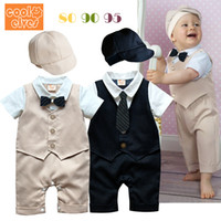 Boy Summer Short Children Clothes 2014 summer models Baby boy gentleman Waistcoat styling Short sleeve Coverall Romper+ hat 2 pc set. BaBy Sets baby Clothing