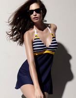Women Swimdress Striped 2014 New Sexy Retro Swimsuit swimwear skirt Bikini elastic Bathing Suits For Women swimwear TY7