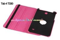 Wholesale 360 Rolative Smart Flip stand Litchi Skin Flip leather case cover for Samsung Galaxy Tab4 Tab T330 amp quot T230