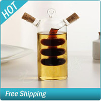 Wholesale Kitchen supplies eco friendly glass olive oil bottle kitchen cruet oil and vinegar bottle double oil