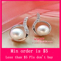 Wholesale Min Order Mix Jewelry order Drop Pearl Diamante Cute Charming Earrings Fashion Earring E2243