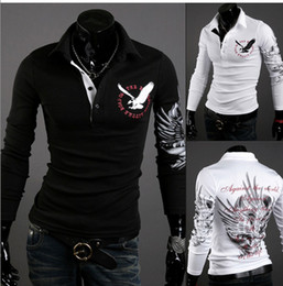 Wholesale European American Wind Eagle Tattoo Long Sleeve Lapel T shirts Printed Cultivate One s Morality Men s POLO Shirt M XXL tk01033