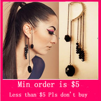 Wholesale Min Order Mix Jewelry order Gothic Punk Left Sexy Ear Cuff Wrap Clip Stud Earring Black E0406
