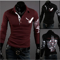 Men Cotton Polo Hot Sell! European American Wind Eagle Tattoo Long Sleeve Lapel T-shirts Printed Cultivate One's Morality Men's POLO Shirt t01033