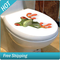 Wholesale Crazy Green Frog Shore Bathroom Toilet Seat Lid Cover Decal Sticker