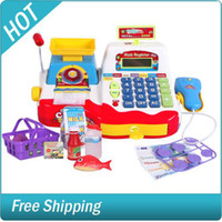Wholesale Fun Babies Pretend and Play Supermarket Cash Register Kits for Kids Childrens Toy with Scanner recei