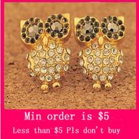Wholesale Min Order Mix Jewelry order Handmade Vintage Retro Design Fashion Owl Earrings Jewelry Ear Rings E0263