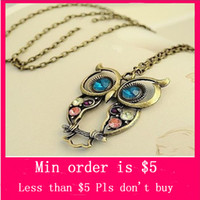 Women's carving - Min Order Mix Jewelry order Vintage Three color Embedded drill Hollow carved Owl Pendant Necklace N0326