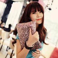 Wholesale 2014 Fashion Women s Sparkling Sequins Dazzling Clutch Party Evening Bag Ladies Handbag Girls Crystal Bling Purse
