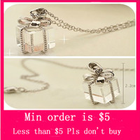 Wholesale Min Order Mix Jewelry order Fashion Jewelry Silver Plated Transparent Plastic Gift Box Present Necklace New N0186