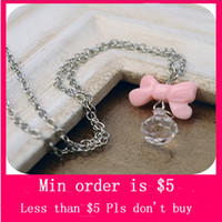 Pendant Necklaces Women's Alloy Min.Order $5( Mix Jewelry order) Lovely Bowknot Crystal Ball Bead Pendant Necklace Fashion Lady Girl Collar Chain N0188
