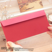 Kraft Bubble As the picture shown Ordinary Paper Free shipping kraft red business envelope paper gift envelope for cards 220x105mm 100pcs lot