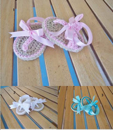 OUTLETS!Pink white blue princess sandals baby shoes lace walker shoes crochet toddler shoes,children shoes,infant flip flops.8 pairs 16 pcs