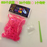 Wholesale Retail Rainbow loom rubber band Elastic Supplement DIY Colorful Silicone bracelet Children toys bands S clips crochet