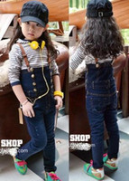 Cheap Fashion Baby Girls Outfits Striped long Top + Suspender Jeans Jumper Children Spring Autumn Sets 5pcs lot