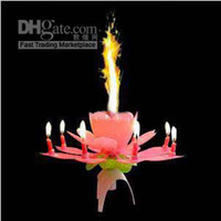 Wholesale Hot sale Fashion Beautiful Musical Blossom Lotus Flower Candle Birthday Party Music Sparkle