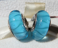 Glass Flowers Blue 5pcs 925 Sterling Silver Oxidized Screw Core Turquoise Looking Murano Glass Beads Fit Pandora Jewelry Bracelets