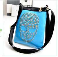 Wholesale color European and American fashion handbags shoulder bag skull atmosphere Korean wild street style orange bag