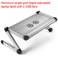 Wholesale new alum laptop notebook table with USB cooler fans legs height adjustable with sections