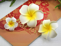artificial frangipani - 4 CM Hawaii frangipani Artificial flowers PE foam Plumeria flower For Jewelry brooch DIY hair accessories and Wedding Party Decoration