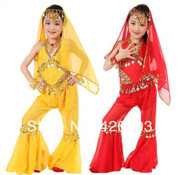 Wholesale New Fashion Big Discount set belly dance costume kid performance suit children India dance girl dancewear top pant