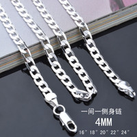 Wholesale 16 inches silver jewelry Sterling Silver plated pretty cute fashion MM chain men style necklace can fit pendant jewelry