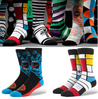 Wholesale Men s Stance Brand New Quality Fashion Street Seamless Terry Crew Socks with Embroidered LOGO Multi Styles g pair