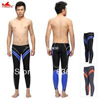 Wholesale swimwear Yingfa water proof chlorine resistant training mens long swim pants men s long swimming trunks