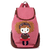 Wholesale cute backpacks Backpack female canvas casual cartoon lilliputian polka dot satanisms student school bags for girls mochila