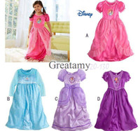 Girl Summer 90-10-110-120-130(fit age 2-7T) Sofia frozen elsa anna printed baby girl dressing gown girls long dress nightgown frozen movie children sleepwear kids pajamas 4 styles