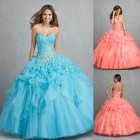 Reference Images Sweetheart Organza New Arrival Sweep Train Ruffles Corset back 2014 Coral Aqua Strapless Sweetheart Organza Quinceanera Gown